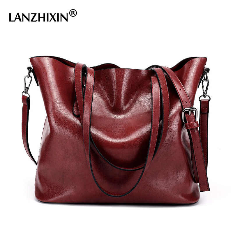 Femmes sacs pour femmes gros sacs à main célèbre marque huile cire cuir rétro Vintage Style sacs à bandoulière fourre-tout sortie sacs à bandoulière 2019