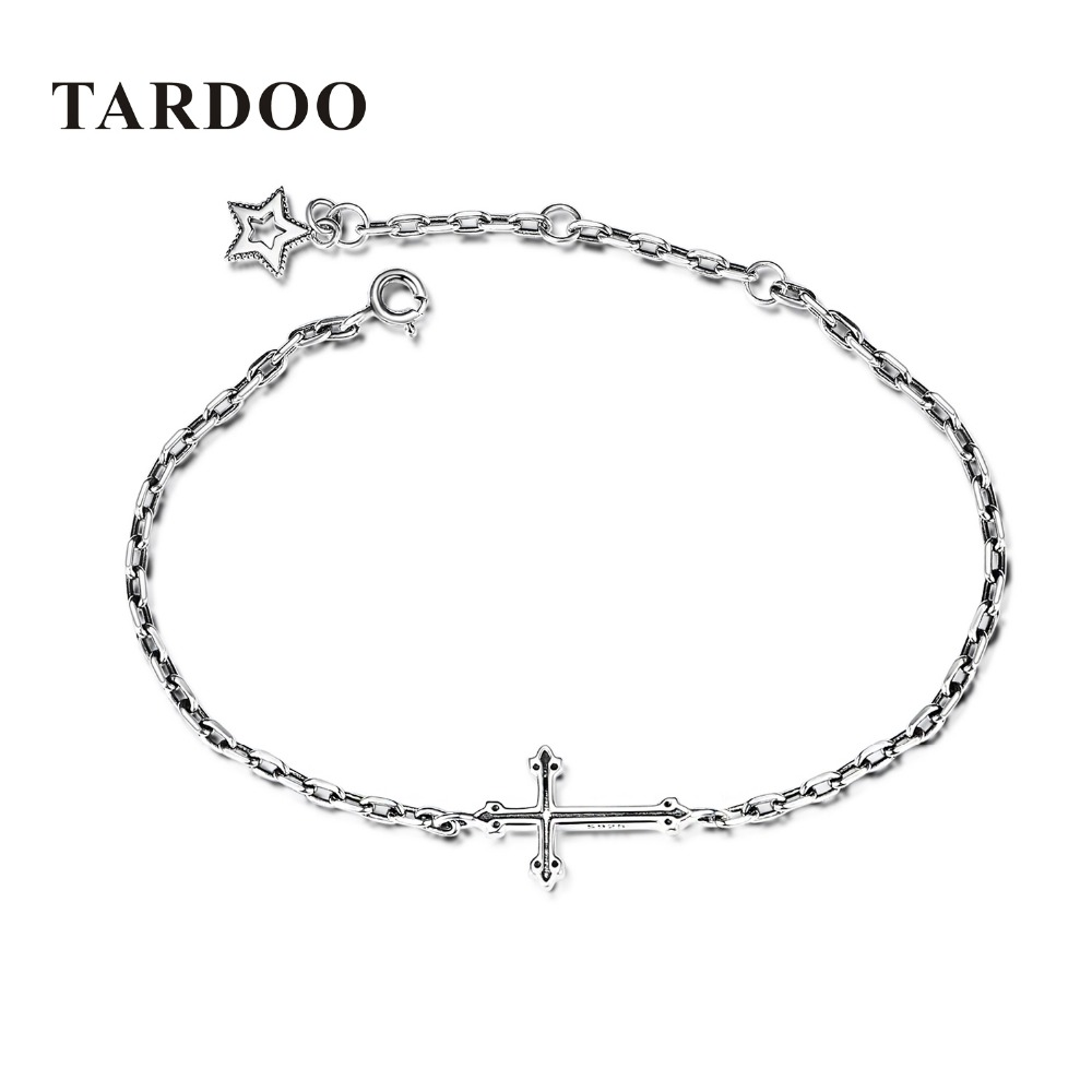 TARDOO Charms Bracelets for Women Real 925 Sterling Silver Cross & Star Statement Bracelet Fashion Punk Style Fine Jewelry Gift tardoo punk style classic silver chain necklace for women