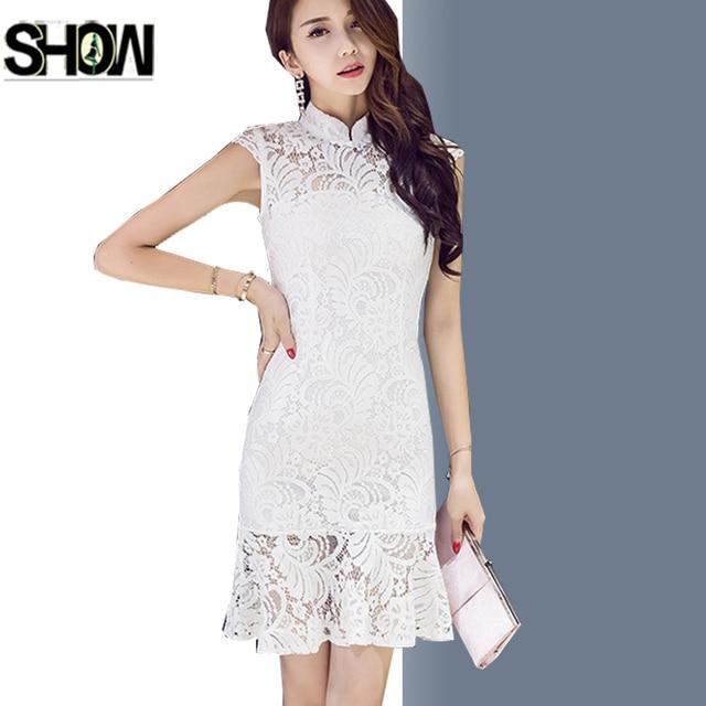 Red Black White Lace Dresses Korean Style Design Women Fashion Slim Fit A  Line Hollow Out Crochet Vintage Ruffle Mermaid Dress b4a799786b34