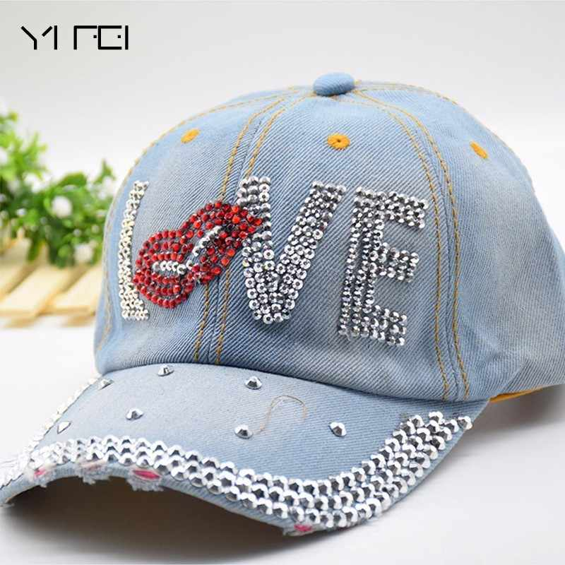 Mouth LOVE Rhinestone Denim Baseball Cap Good Quality Skull Outdoor Sports Snapback Hats For Men Women 2018 Wholesale Brand