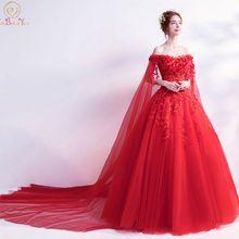 Walk рядом с вами красные вечерние платья с открытыми плечами цветок кружева аппликация платье для выпускного вечера с блестками Часовня Поезд Vestidos Largos De Noche