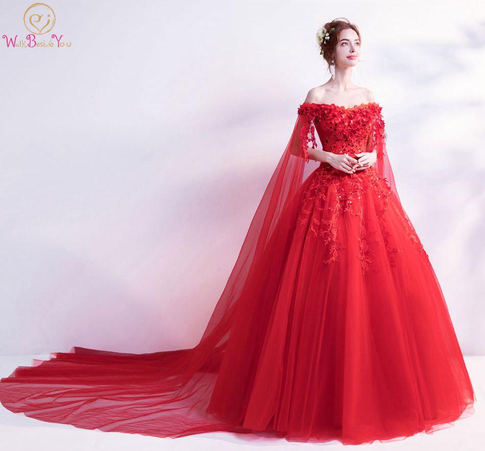 Walk Beside You Red Evening Dresses Off Shoulder Flower Lace Applique Sequined Prom Gowns Chapel Train Vestidos Largos De Noche