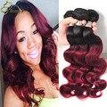 Longqi Hair Products Burgundy Ombre Brazilian Hair 4 Bundles 1B/99j Ombre Human Hair Weave Wet And Wavy Virgin Brazilian Hair