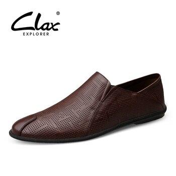 e6e79a84eb9 CLAX Mans zapatos de verano de cuero genuino mocasines de los hombres con  agujeros respirables hombre mocasines casuales Slipons