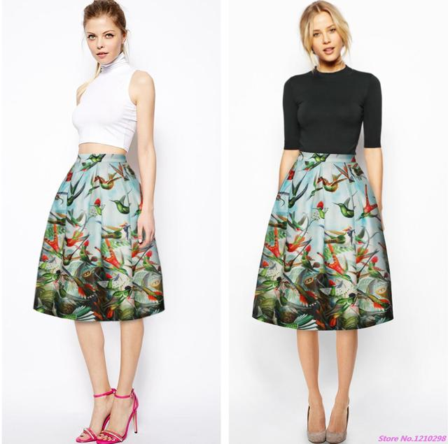 3D Printed Birds Women Skirt Vintage Pleated A-Line Midi Skirts Sports Knee  Length Elastic Long Skirts for Female b5c3d3d657f5