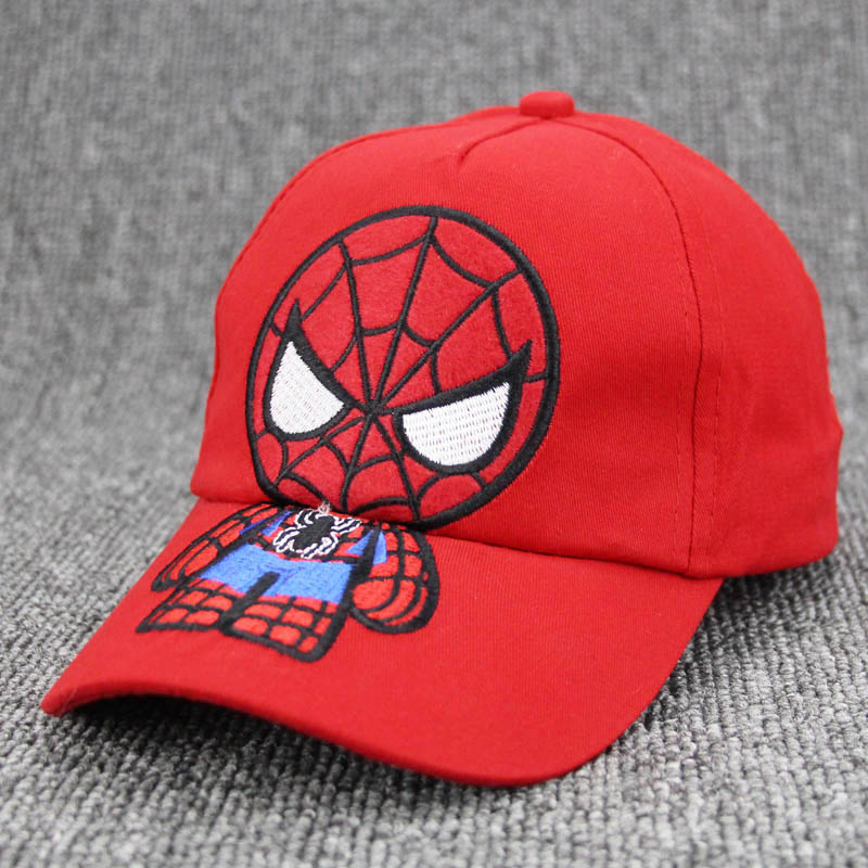 Дети snapback милый паук мультфильм детей Вышивка хлопок Бейсбол Кепки мальчик девочка хип-хоп Hat человек-паук Косплэй шляпа Gorras