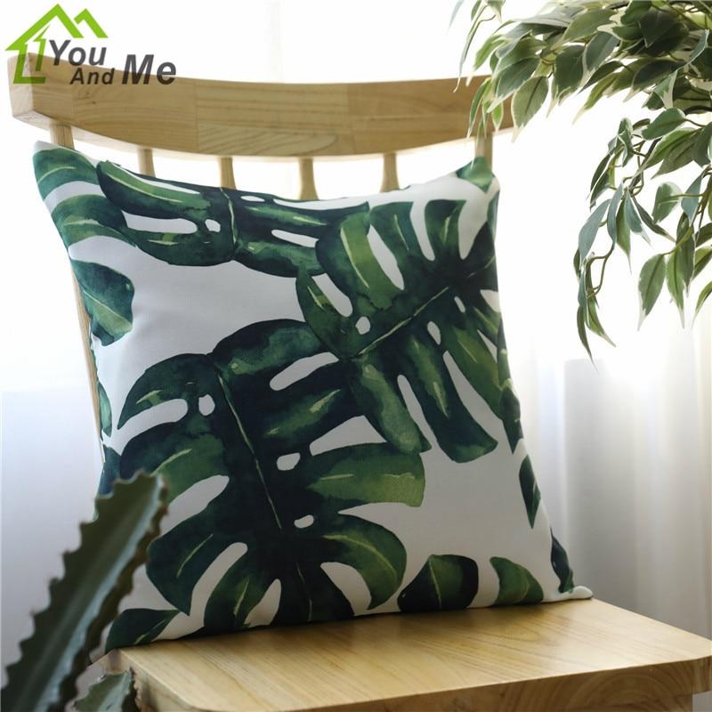 45x45cm 60x60cm Africa Tropical Plant Printed Cushion Cover Green Leaves Pillowcases Car Sofa Pillow Cover Home Decorative