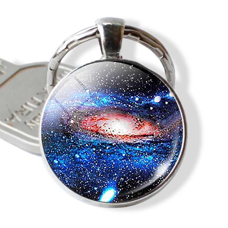 Solar Eclipse Galaxy Planet Keychain Space Pendant Fashion Key Chain Eclipse Earth Solar Eclipse Outer Sun Glass  Jewelry Gift