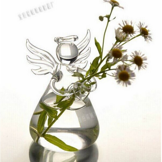 2pcs/lot Clear Crystal Glass Flower Vase,Terrarium Borosilicate Angel Tabletop Vases,Home&Wedding Decoration