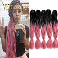 Ombre Braiding Hair new fashion Synthetic Two Tone High Temperature Fiber100g/pcs ombre Jumbo Braid Hair Extension braiding hair