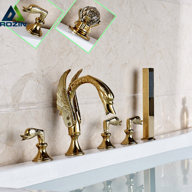 Swan Style Deck Mounted Bathtub Faucet Set Three Handles 5pcs Bathroom Tub Sink Mixer Tap with Handshower цена