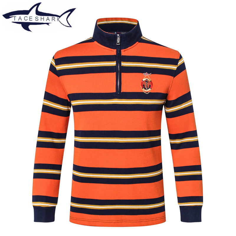 NEW Arrival Long sleeves shirt Brand clothing Tace & shark Men Cotton Men's Shirt Plus Size Striped Stand Collar Cotton POLO