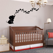 Cute Elephant Wall Sticker Baby Nursery Decorative Wall Decals Kids Living Room DIY Wallpapers Self Adhesive Removable Stickers