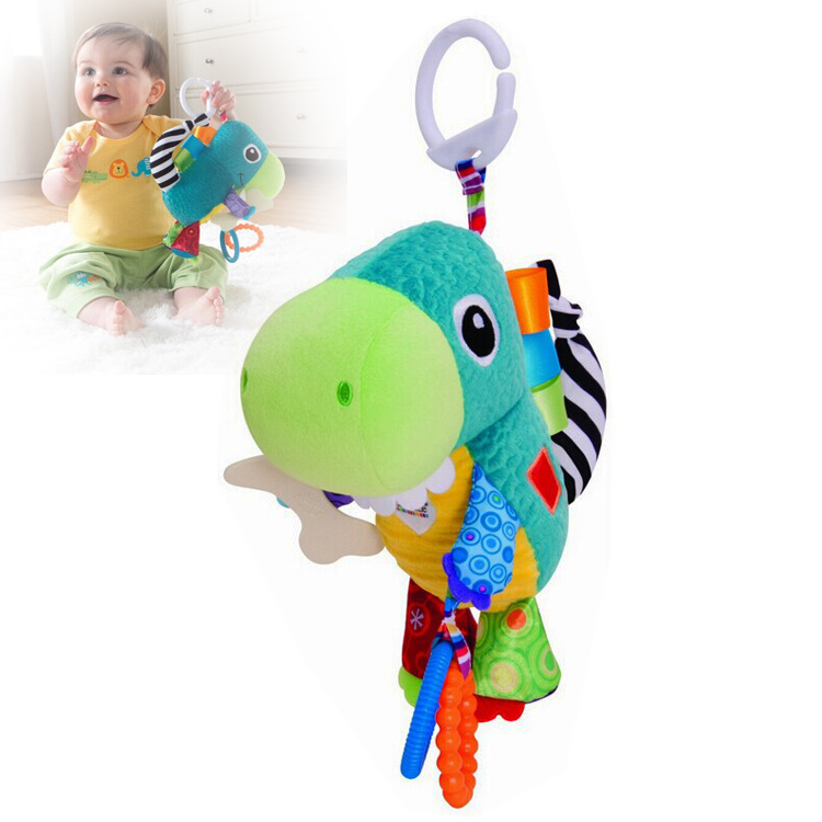 Hot sale 1pc cartoon cute dinosaur hippocampus baby cloth rattles play grow ring paper c ...