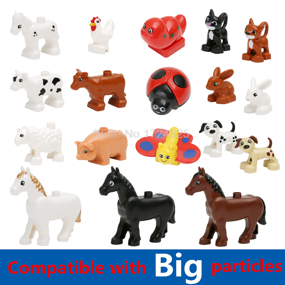 Big Particles Single Sale Animal Elephant Lion Monkey Hippo Octopus Building Blocks Set Model Bricks Toys for Children ynynoo 40pcs set large particles animal