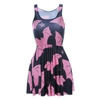 Fashion 1026 Sexy Girl Women Summer Comics batman pink bat star 3D Prints Reversible Sleeveless Skater Pleated Dress