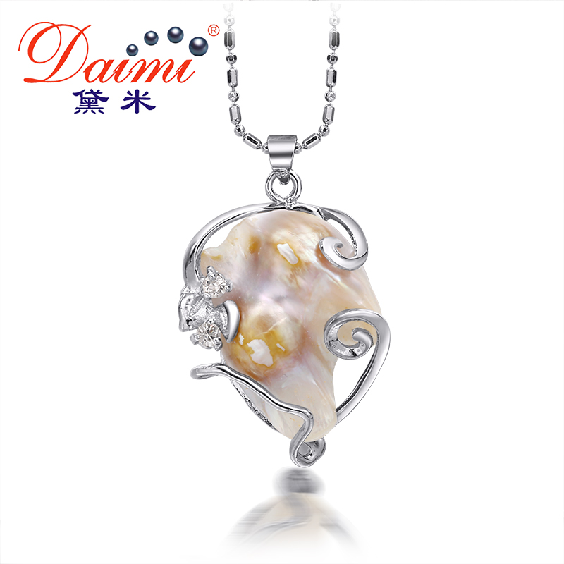 DAIMI 2016 New Huge Natural White Black Baroque Pearl Pendant Necklace For Women Casual Style