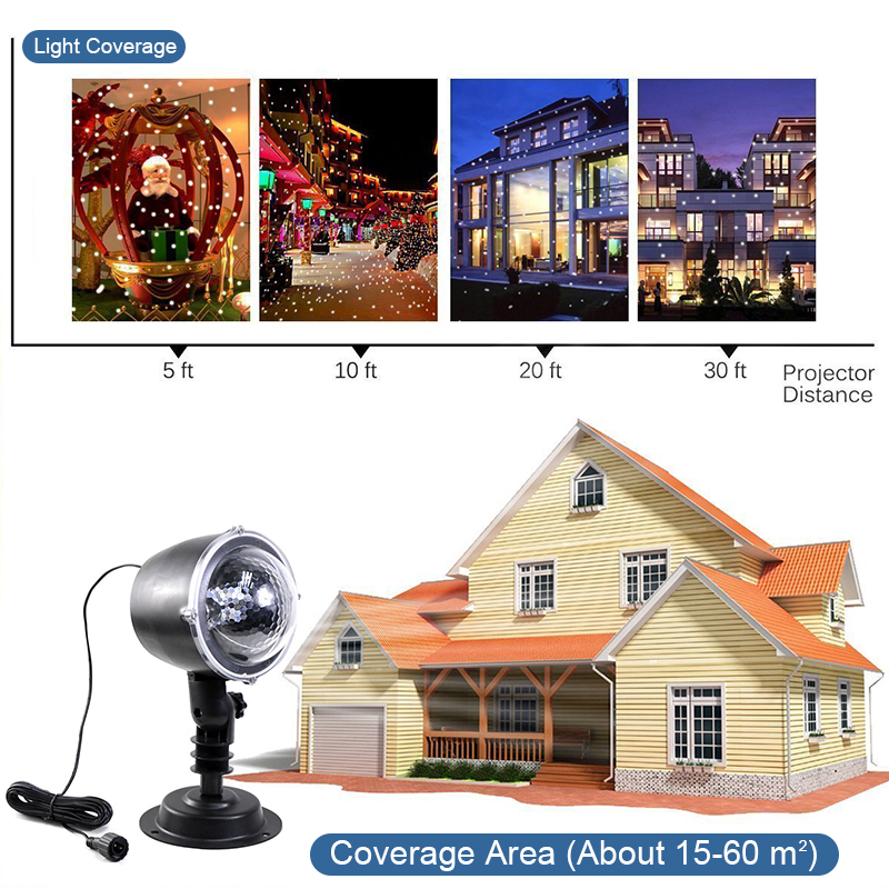 Snowfall Led Stage Lights Displays Projector Show Christmas Outdoor Indoor Rotating Snowflake Lamp Xmas Garden Landscape Decor (17)