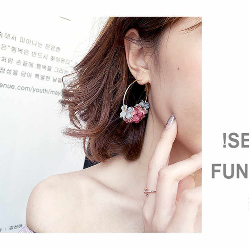 Fashion Jewelry Elegant Earrings Pendant Alloy Earrings Floral Female Statement Earrings Color Flower Rings Large Fancy Earrings