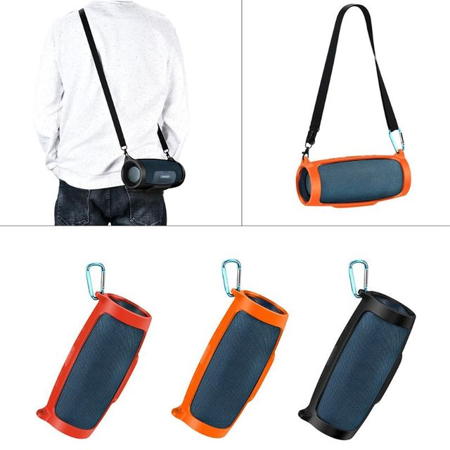 Silicone Case Cover Skin With Strap Carabiner for JBL Charge 4 Portable Wireless Bluetooth Speaker