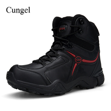 Cungel Men Combat boots Outdoor Hiking shoes Military Tactical boots Desert Army boots Mountain climbing shoes Trekking men military tactical boots leather outdoor combat army hiking shoes trekking mountain climbing boots sneakers wrestling shoes