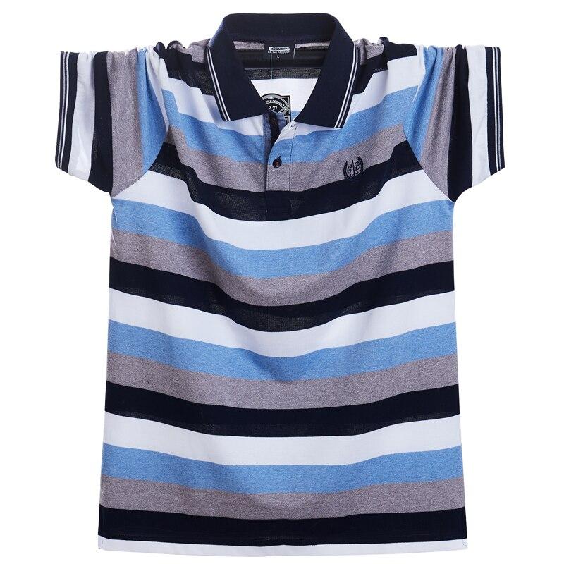 Image 2 - Мужская футболка поло, летняя, повседневная, дышащая, с коротким рукавом, в полоску, большого размера 5xlПоло   -