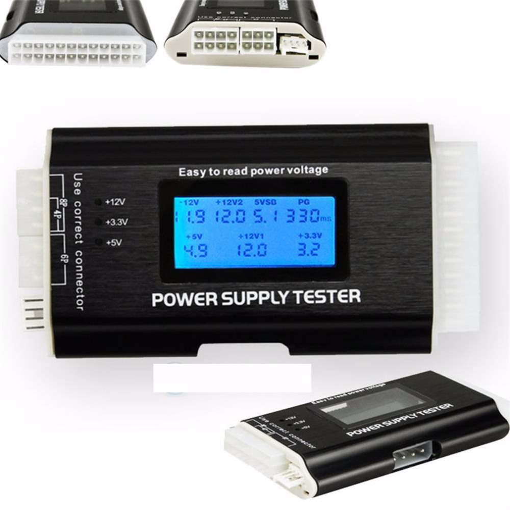 1Pc Computer PC Power Supply Tester Checker 20/24 pin SATA HDD ATX BTX Meter LCD Wholesale стоимость