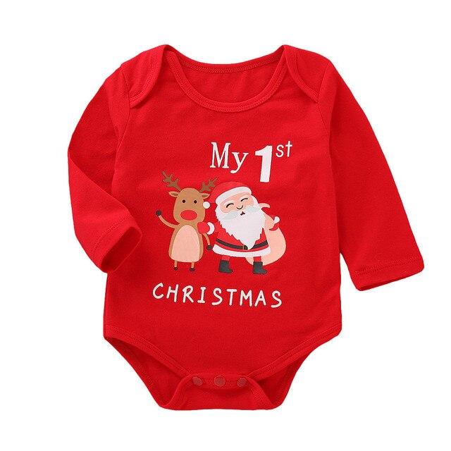 幼児ベビーガールズボーイズ長袖レタープリントクリスマスジャンプスーツロンパース衣装 2018 私の最初のクリスマスガール