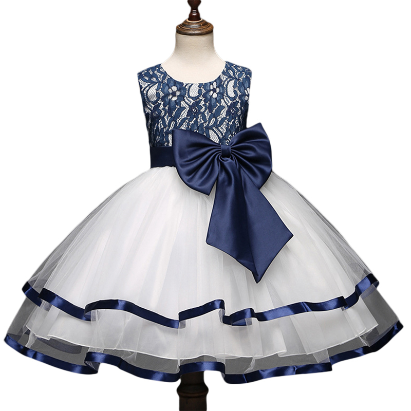 Girls Big Bow Ball Gown Dress Lace Embroidery Sleeveless Princess Dresses 2017 New Birthday Wdding Christmas Clothes GD47 ball gown dresses princess vest lace dress 2017 summer new children lovely clothes girls strap voile dress embroidery and bead