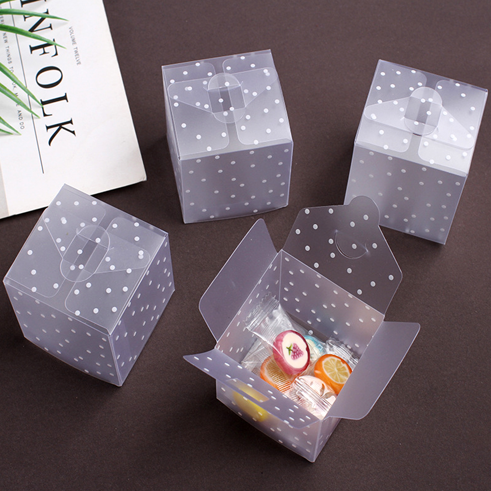 50pcs Pillow Shape Clear PVC Candy Box Packaging Gift Box Wedding Party Fav Hy Wedding Supplies