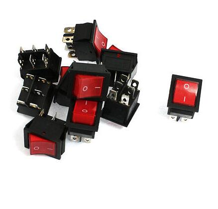 10 x Red KCD4 16A/250V 20A/125V DPDT On-On 6 Pin Boat Rocker Switches diy rocker switch with 2 x cable for car vehicle black 3a 250v 6a 125v