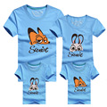 Sweet Cartoon Fox Tee shirt Short-sleeve Family Look casual Macthing Family Outfits Father Mother Son Clothes Cotton Tees DC77
