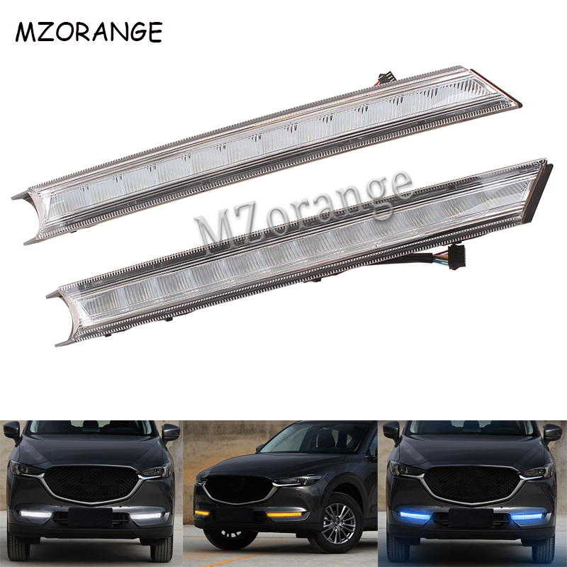 LED Daytime Running Light For Mazda CX-5 CX5 2017 2018 DRL Car-styling Daylight With Yellow Turn Signal Light Waterproof FoglampLED Daytime Running Light For Mazda CX-5 CX5 2017 2018 DRL Car-styling Daylight With Yellow Turn Signal Light Waterproof Foglamp