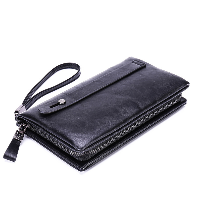 High Quality Luxury PU Leather Men's Clutch Bag Credit Card Holder Coin Purse Zipper Long Wallet Business Vintage Money Pockets