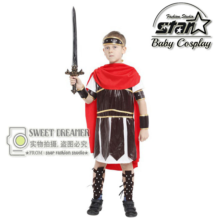 Halloween Children Party Cosplay Costume Boys Noble Royal Roman Warrior Train Dragon Costume Clothing Prince Suits Cosplay