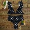 2018 Dot Bikini Set Sexy Bathing Suit Cute Swimwear Women Swimsuit Ruffle Shoulder Brazilian Bikini High Waist Maillot De Bain 2
