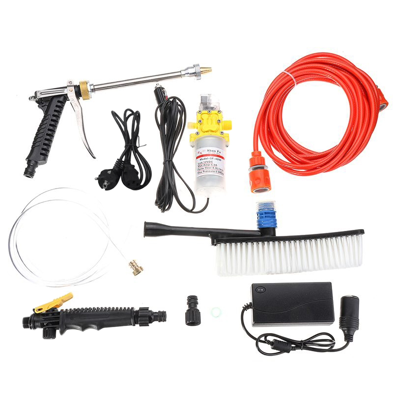 80W 12V Dc Portable Car Washer High Pressure Auto Washing Machine Electric Clean-Guns Device Vehicle Care Tools Kit Hairbrush