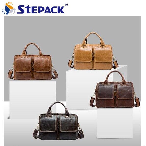 2017 New Brand Business  Antique Nubuck Cow Genuine Leather Bags Men Messenger Bag Crossbody Shoulder Bags High Quanlity