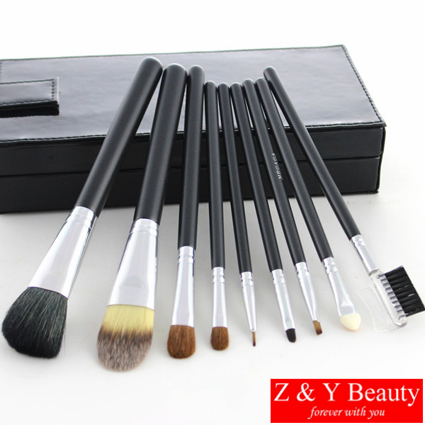 9 pcs Brush Set with Mirror in Brush Box,High Quality Soft Goat Hair and Pony Hair high quality board games 91 pcs double 12 melamine domino block set with metal box