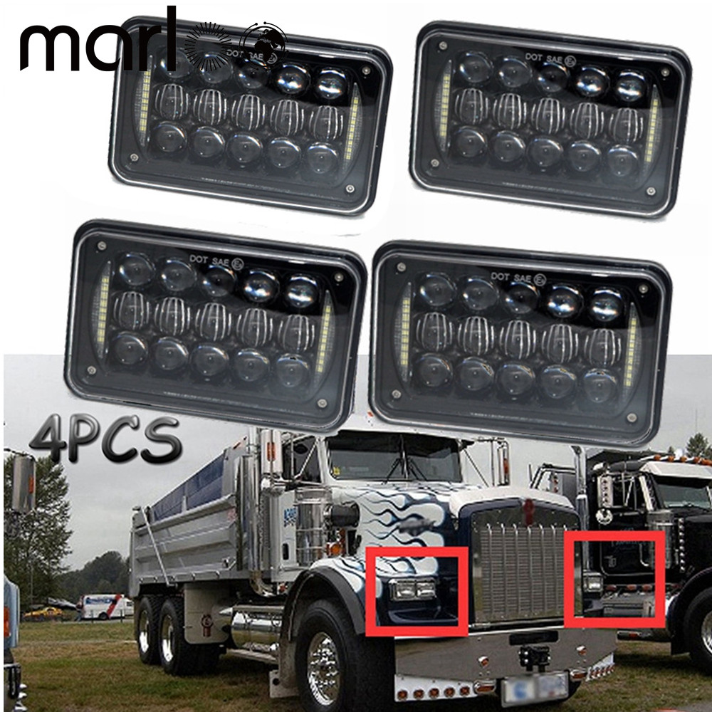 Marloo 4x6 6x4 inch Rectangle Kenworth LED Headlight Replacement HID Xenon H4651 H4652 H4656 Front led headLight with White DRL pair 4x6 inch 45w led sealed headlight h4651 h4652 h4656 h4666 h654 truck headlamp replacement heavy duty trucks work light