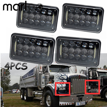 Marloo 4x6 6x4 inch Rectangle Kenworth LED Headlight Replacement HID Xenon H4651 H4652 H4656 Front led headLight with White DRL