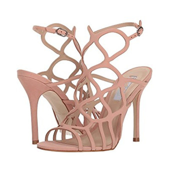 Fashion Pink Black Suede Leather Hollow Out Women Summer Shoes Thin High Heels Gladiator Heeled Sandals