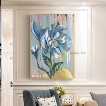 Aritist 100% handpainted modern Palette gold Flower Oil Painting On Canvas Handmade Money Tree Painting Cuadros home Decoraction цена