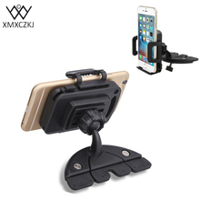 XMXCZKJ Car Phone Holder Cd Slot Mount Holder 360 Degree Mobile Phone Holder Stand For Iphone Samsung Xiaomi Smartphones GPS