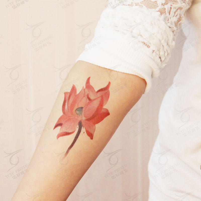 Retro Loto Rojo Unisex Hombres Mujeres Tatuajes Temporales Flor