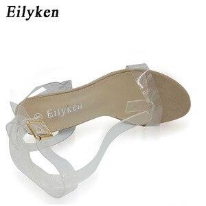Image 2 - Eilyken kobiety sandały kostki pasek pleksi wysokie obcasy pcv jasnego kryształu zwięzłe klasyczna klamra pasek buty wysokiej jakości size35 42
