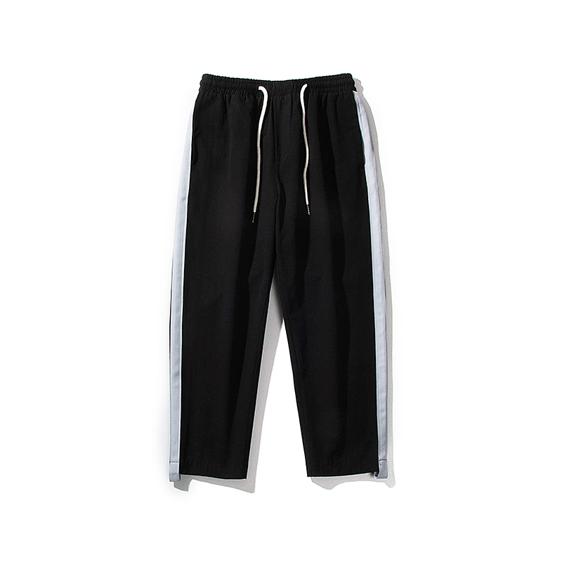 2018 Summer New Pattern Style Side Directly Nine Part Leisure Time Pants Tide Male black ...