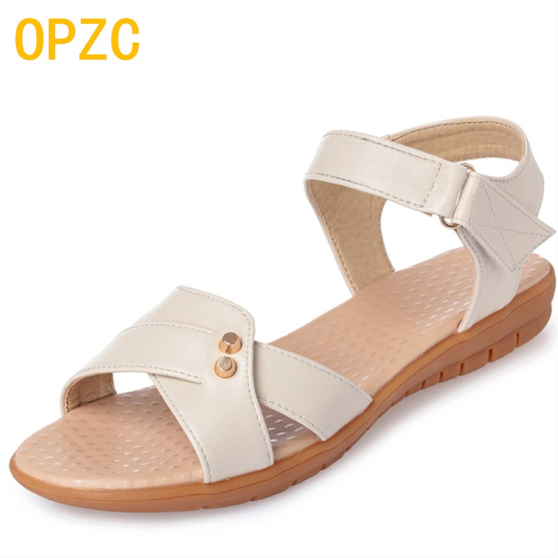 OPZC Women Leather Flat Sandals classical Gladiator Women Shoes Summer Casual Occasions Comfortable sandals The Female Sandals fashion summer gladiator women flat fashion shoes casual occasions comfortable sandals round toe casual peep toe flat shoes s