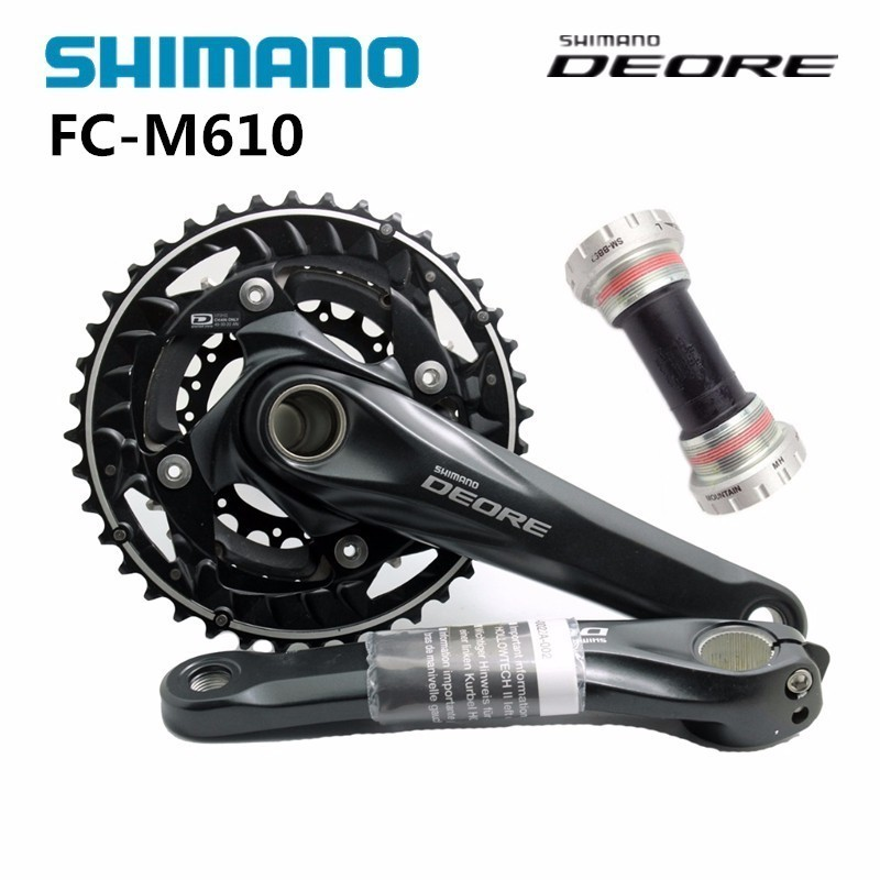 Shimano DEORE FC M610 170mm with BB52 Centre Movement MTB Mountain Bike Crankset Black shimano deore fc m610 fc m612 m615 aluminium 3x10 2x10 speed crankset with bb51