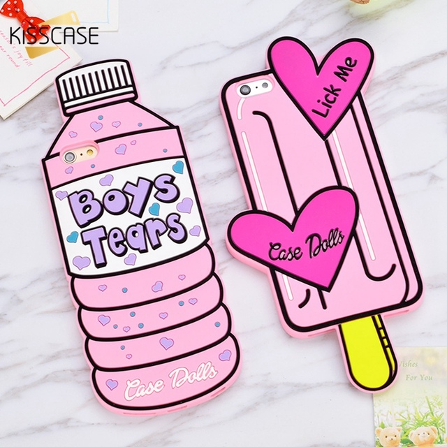 KISSCASE Cute Girly Soft Silicon Case For iPhone 5S 5 6 6S 7 Cartoon Case 3D Bottle Love Ice Cream Rubber Phone Back Cover Coque